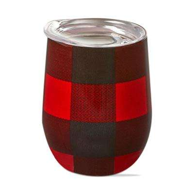 Buffalo Check 12 oz. Red Stainless Steel Stemless Wine Glass