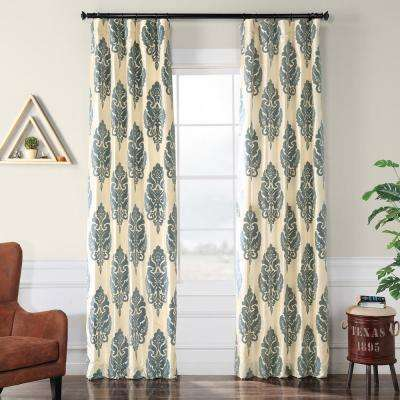 Francesca Silver and Blue Flocked Faux Silk Curtain - 50 in. W x 120 in. L