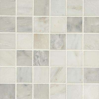 Greecian White 12 in. x 12 in. x 10mm Polished Marble Mesh-Mounted Mosaic Tile (10 sq. ft. / case)