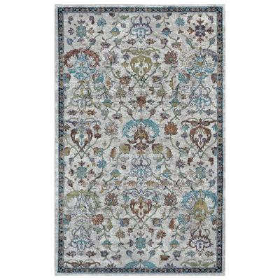 LR Home Gala Transitional Gray / Sky Blue 8 ft. 9 in. x 11 ft. 9 in. Jacobean Area Rug