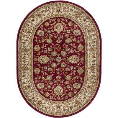 Sensation Red 6 ft. 7 in. x 9 ft. 6 in. Traditional Oval Area Rug