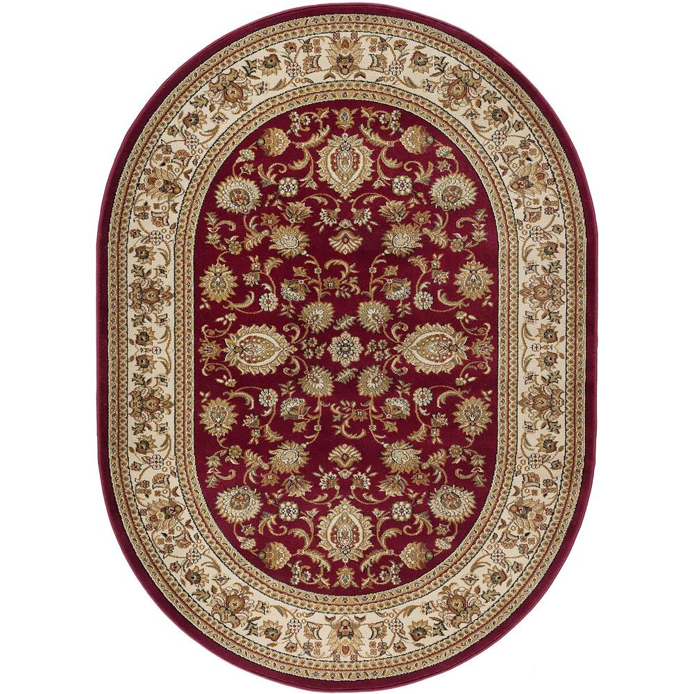 Tayse Rugs Sensation Red 7 Ft. X 10 Ft. Traditional Oval
