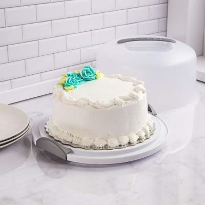 Cake and Cupcake Carrier Storage Container with Server Holds up to 12 in. 3-Layer Cake White Gray Translucent Dome