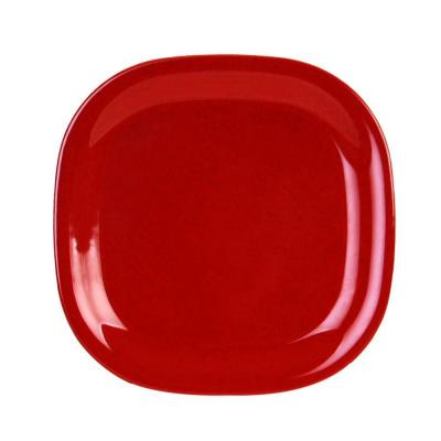 Jazz 11 in. x 11 in. Round Square Plate in Red (1-Piece)