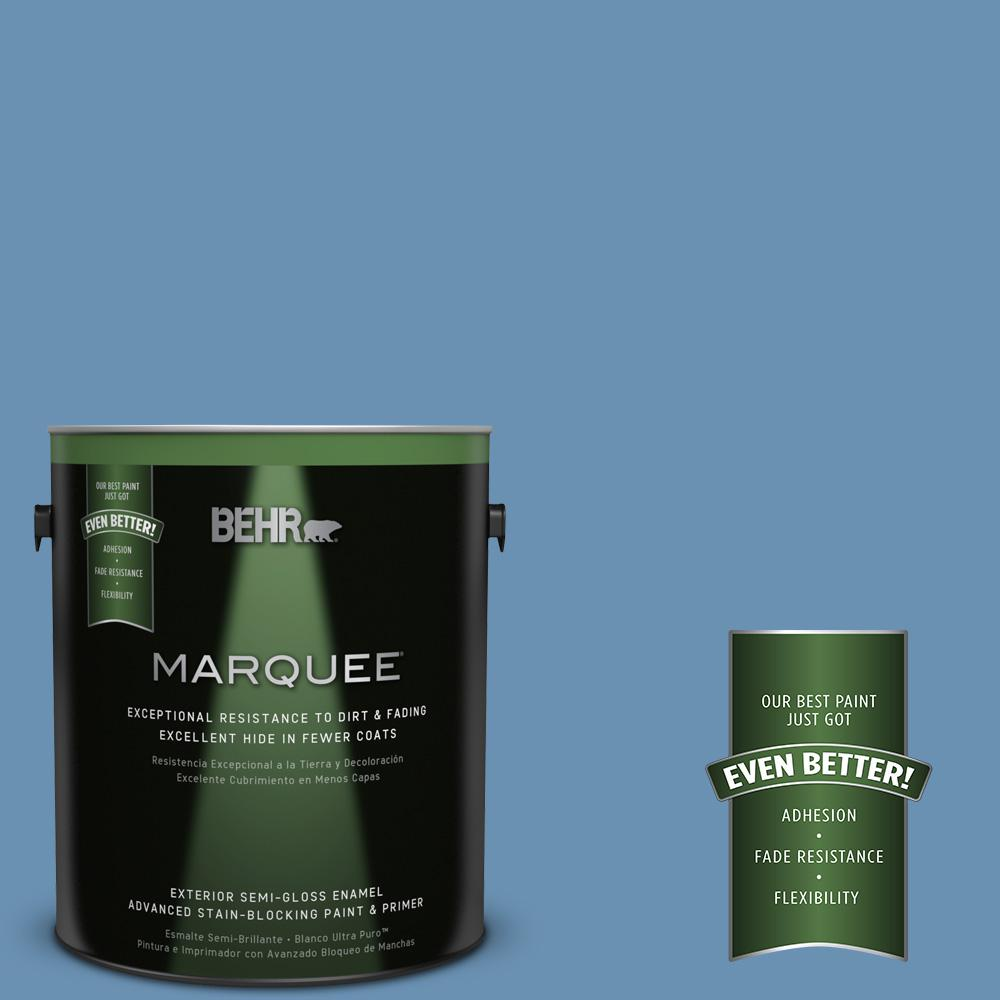 BEHR MARQUEE 1-gal. #M510-4 Brittany Blue Semi-Gloss Enamel Exterior Paint