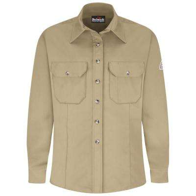 EXCEL FR ComforTouch Men's Large Khaki Dress Uniform Shirt
