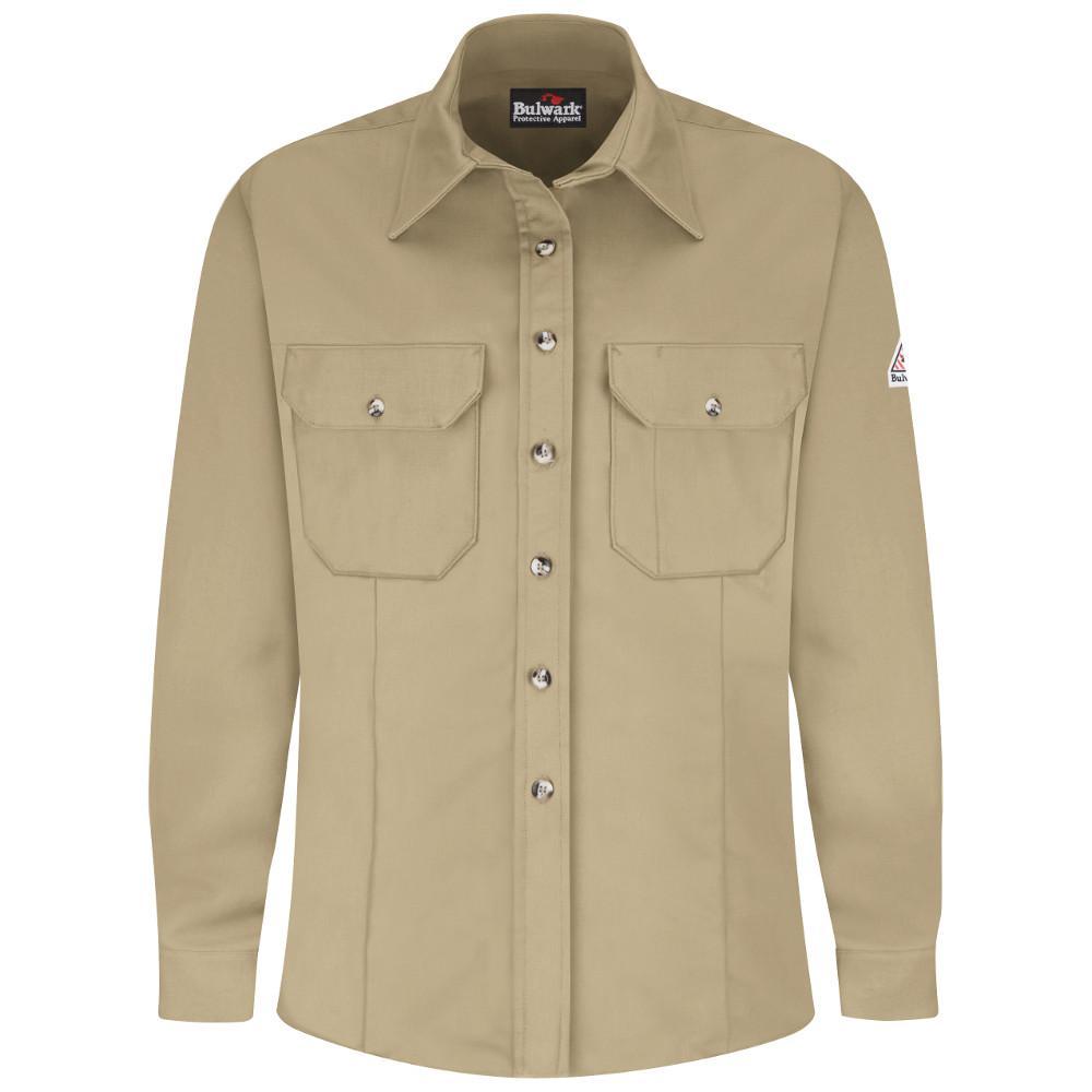 EXCEL FR ComforTouch Men's Small Khaki Dress Uniform Shirt