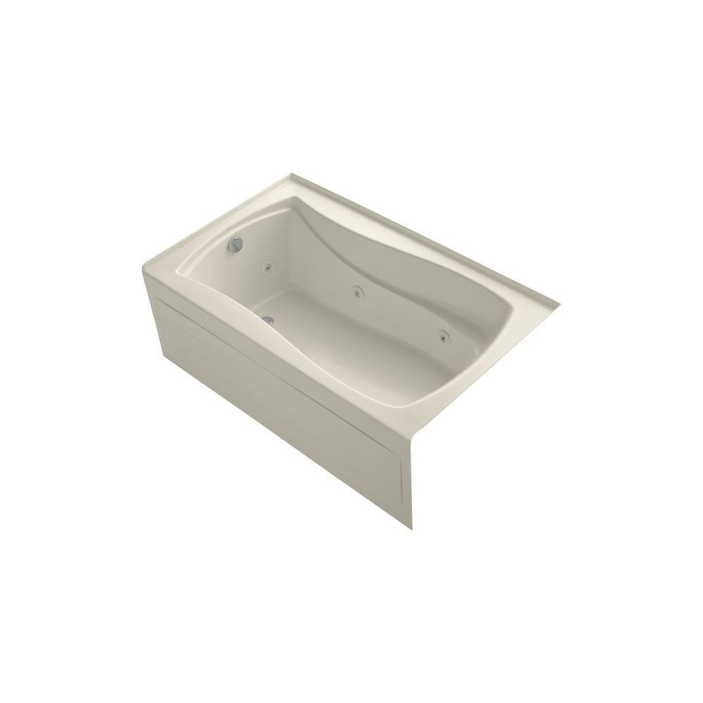 KOHLER Mariposa 5 ft. Left-Drain Rectangular Alcove Whirlpool Bathtub in Almond