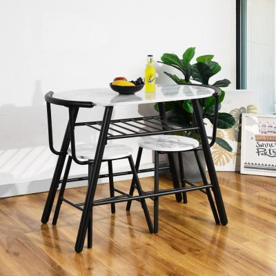 Stylish White 3-Piece MDF Oval Breakfast Set Dining Set with 2-Side Chairs in Black Metal Tube