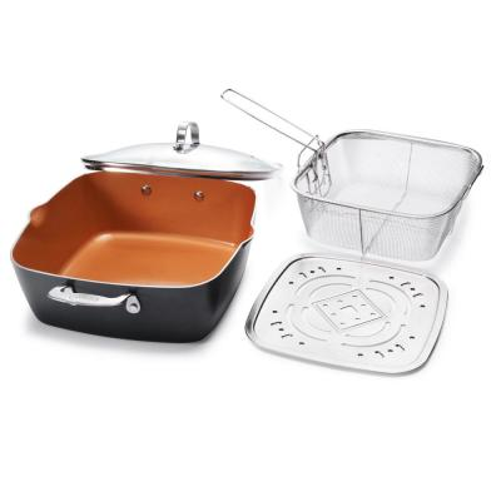 6 qt. Aluminum Ti-Ceramic Nonstick Deep Square All-in-One Casserole Pan Set