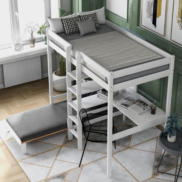 Harper Bright Designs Convertible White Twin Loft Bed With L Shape Desk And Ladder Sm000209aak The Home Depot