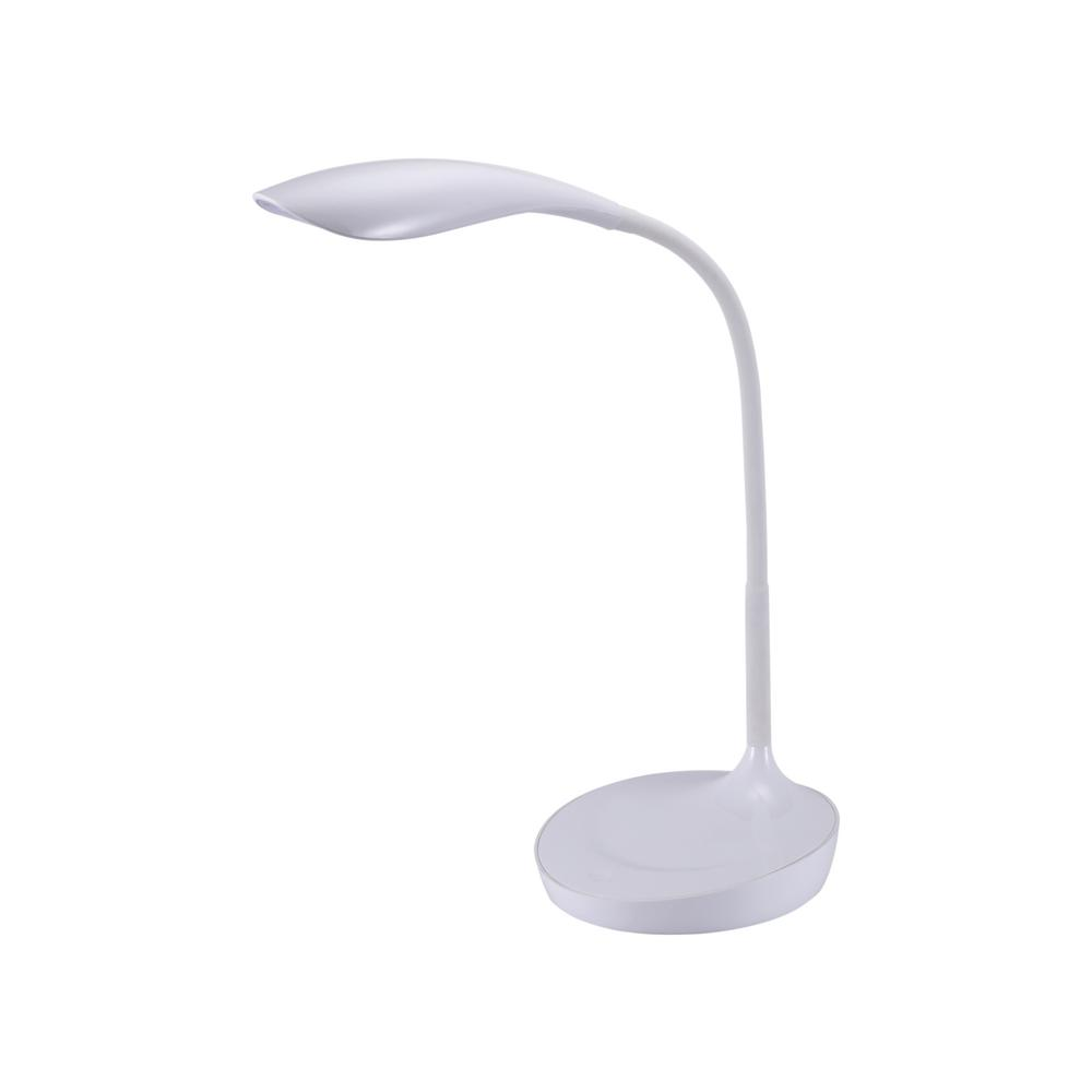 White Gooseneck LED Desk Lamp With USB Charging Port