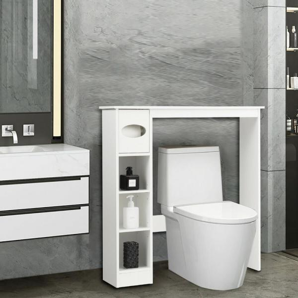 Casainc 30 In W Wooden Toilet Storage Cabinet Bathroom Shelves With Paper Drawer In White Wf Hw63338 The Home Depot