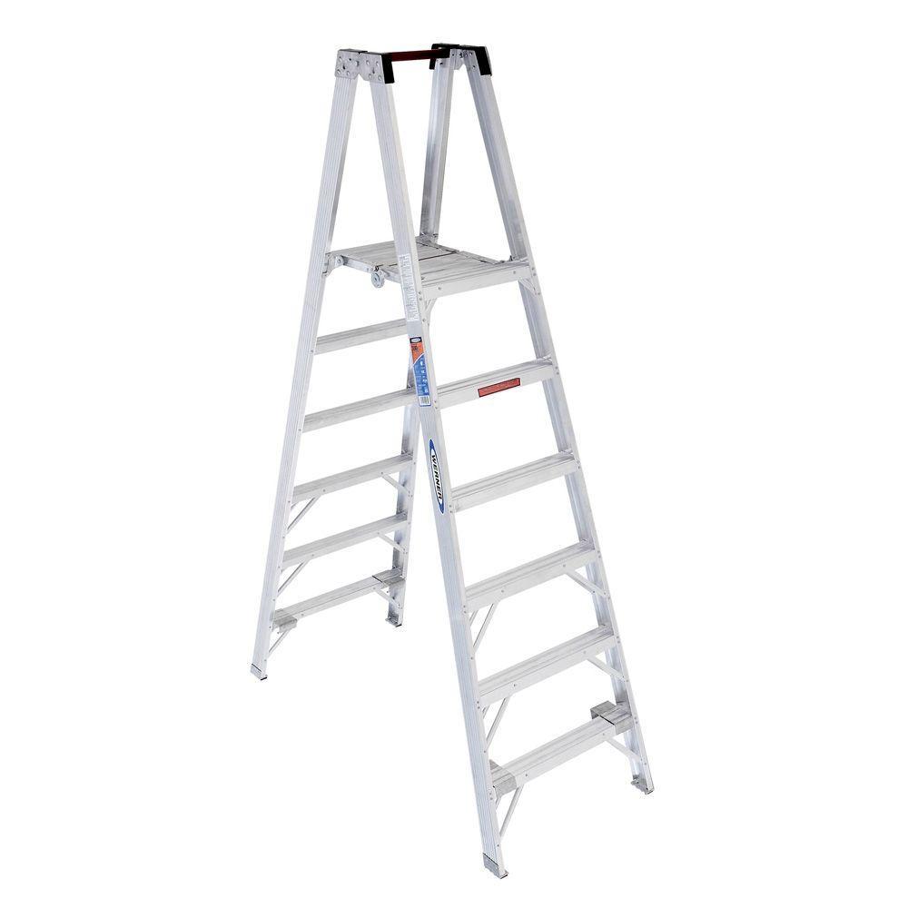 Werner 6 ft. Aluminum Platform Step Ladder with 300 lb. L...