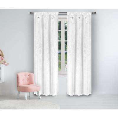 Clarina White Blackout with Bow Pinch Pleats and Black Tab - 25 in. W x 84 in. L in (2-Piece)