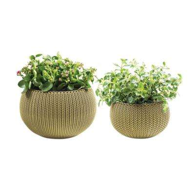 Knit Cozie 11 in. and 14.2 in. Dia Citrus Green Small and Medium Planters (2-Piece Set)