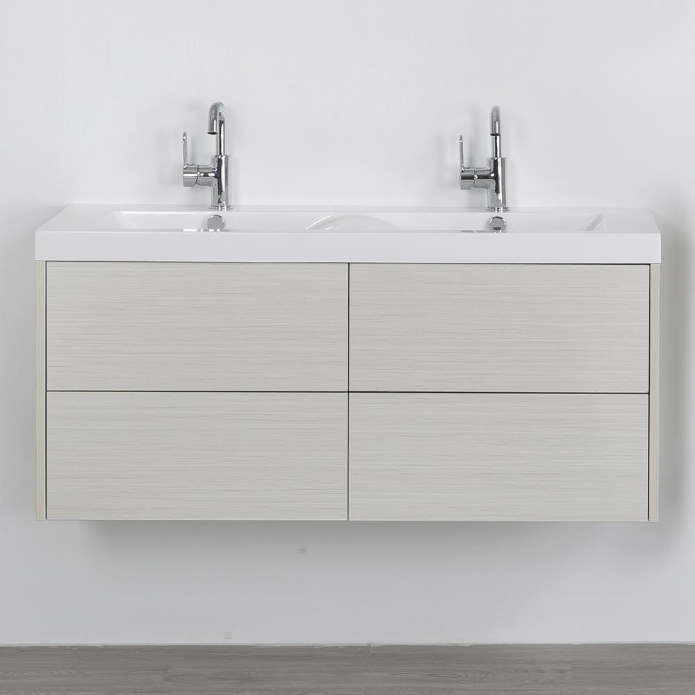 Streamline 47.2 in. W x 19.4 in. H Bath Vanity in Gray with Resin Vanity Top in White with White Basin