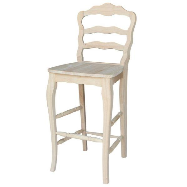 International Concepts Versailles 29.9 in. Unfinished Wood Bar Stool