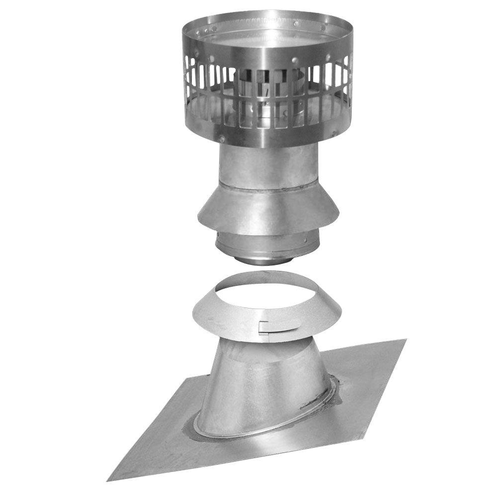3 in. x 5 in. Vertical Concentric Termination Vent Kit Stainless