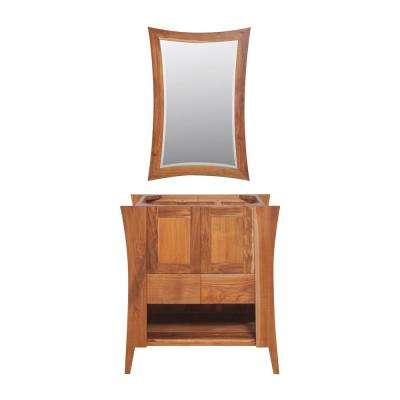Curvature 30 in. L Natural Teak Vanity Only With 24 in. L x 35 in. H Mirror