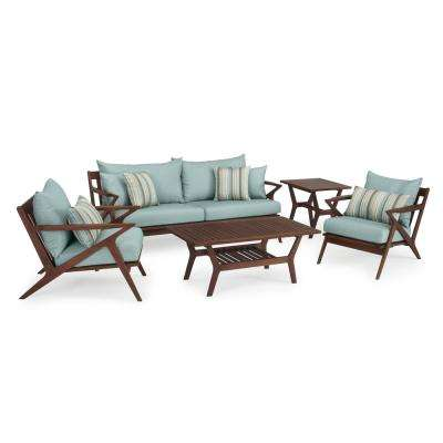 Vaughn 5-Piece Wood Patio Conversation Set with Bliss Blue Cushions