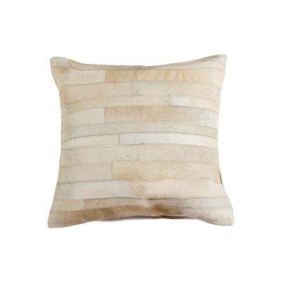 Torino Madrid Cowhide 18 in. x 18 in. Natural Pillow