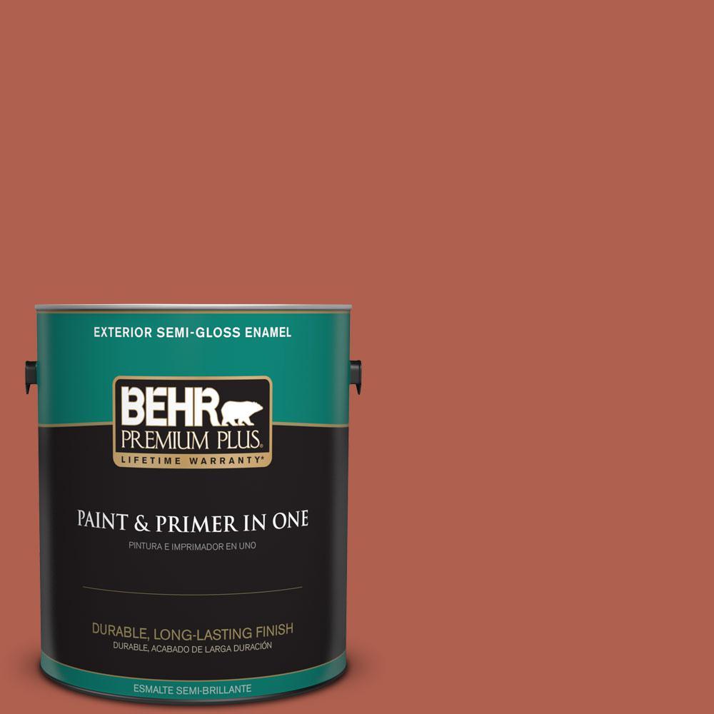 BEHR Premium Plus 1-gal. #BIC-46 Clay Red Semi-Gloss Enamel Exterior Paint