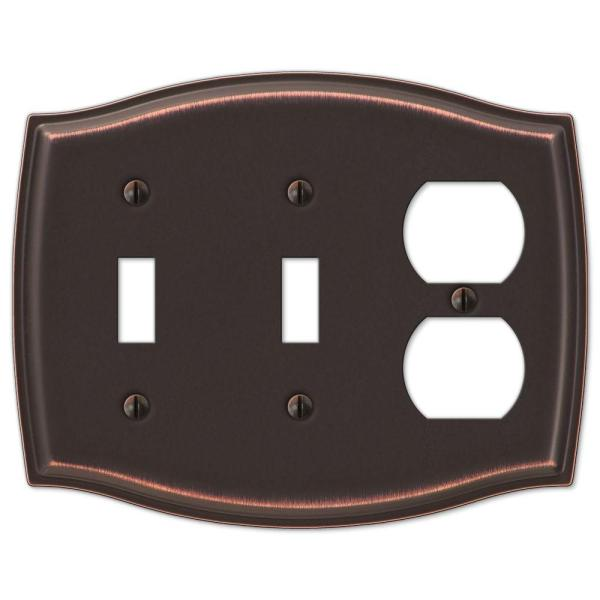 Vineyard 3 Gang 2-Toggle and 1-Duplex Steel Wall Plate - Aged Bronze
