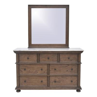 75 in. H x 58 in. W x 17.5 in. D Sheffield Rich Cognac Marble Top Dresser and Mirror (7-Drawer )