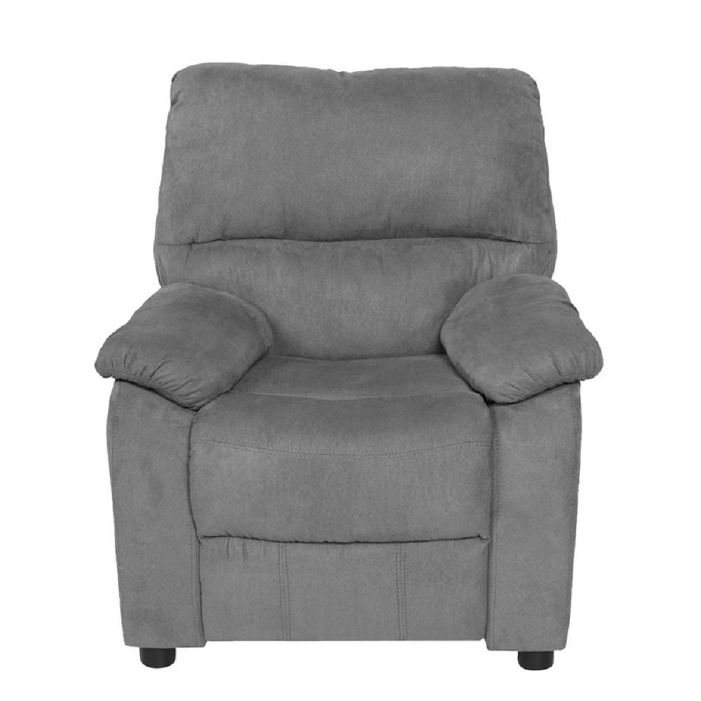 Relaxzen Gray Youth Recliner With Storage Arms And Dual Usb