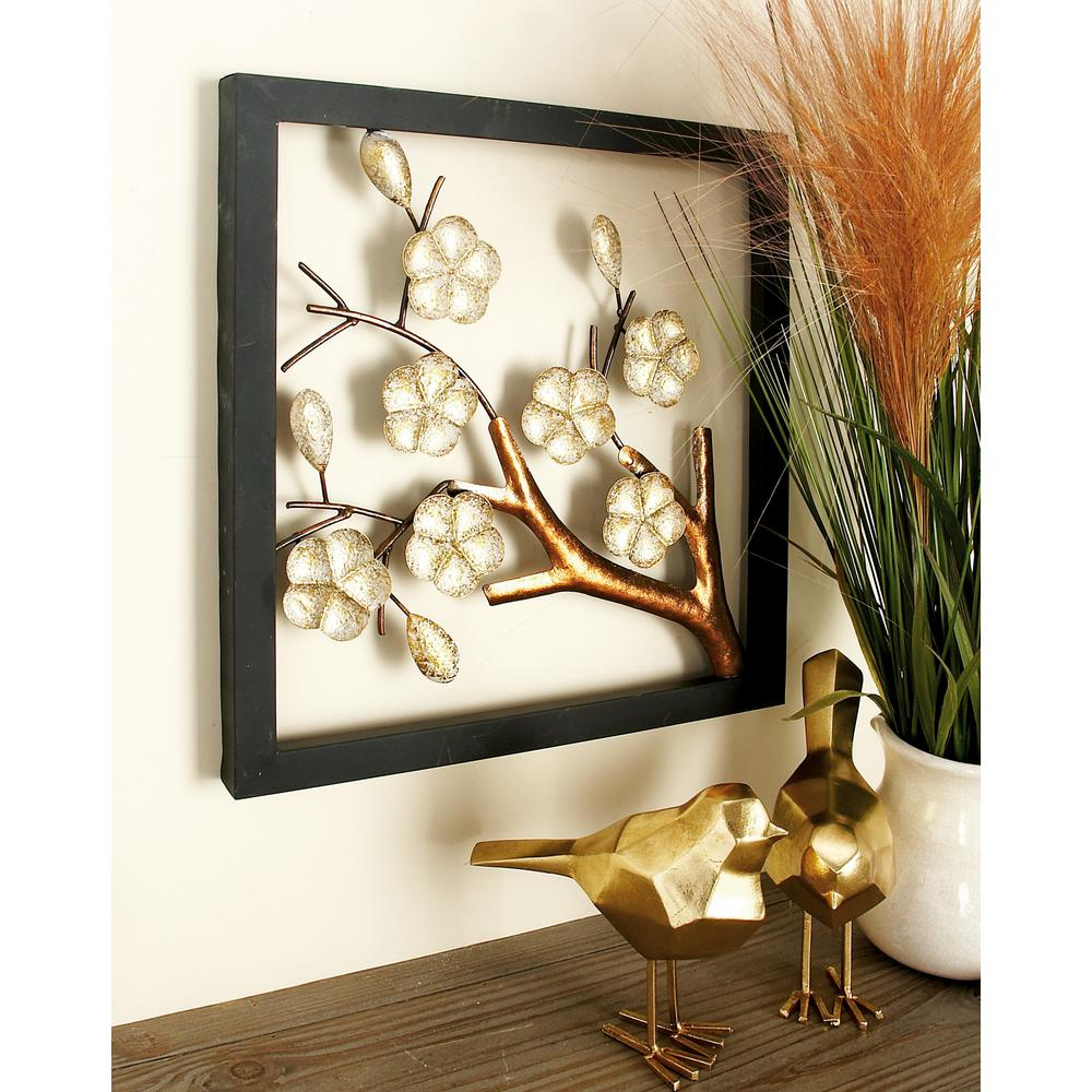 Iron Square-Framed Cream Floral and Brown Tree Branch Wall Decor (Set