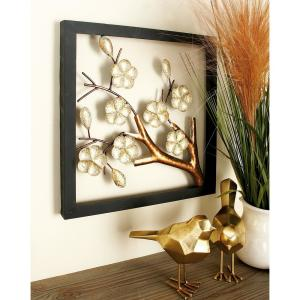 Iron Square-Framed Cream Floral and Brown Tree Branch Wall Decor (Set of 2) by