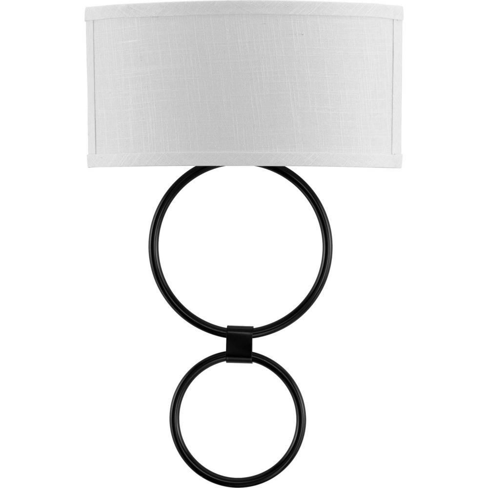 LED Shaded Sconce 1-Light Black Circle LED Wall Sconce