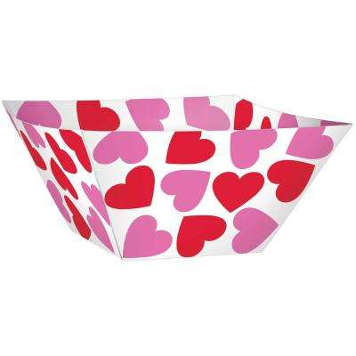 Heart 10.5 in. x 4.25 in. Paper Valentine's Day Square Serving Bowl (3-Count 3-Pack)