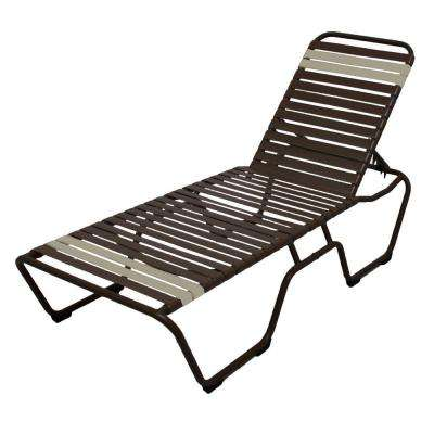 Marco Island Dark Cafe Brown Commercial Aluminum Patio Chaise Lounge with Leisure Brown and Putty Vinyl Straps (2-Pack)