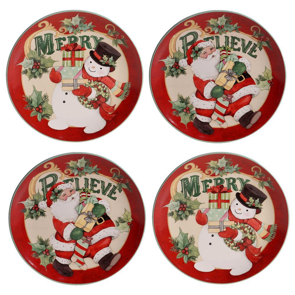 Believe 4-Piece Multi-Colored 11 in. Earthenware Dinner Plate Set