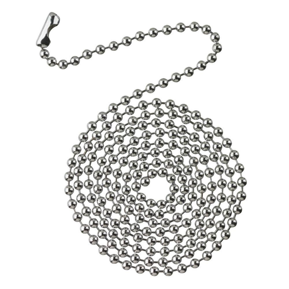 Commercial Electric 3 ft. Chrome Beaded Chain with Connector, Grey This beaded chain offers 3 ft. of length for easy accessibility. Boasting a polished chrome finish for a sleek shine, this chain and connector piece was designed for use with ceiling fans and light fixtures to easily control functions. Its customizable length allows you to adjust it to fit your needs.