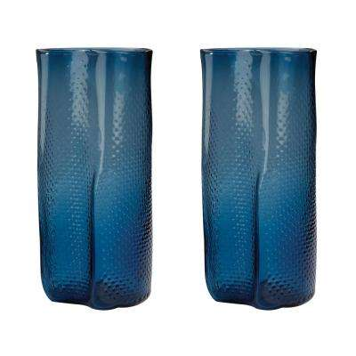 Fish Net 13 in. Glass Decorative Vases in Navy Blue (Set of 2)