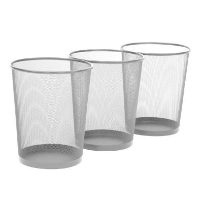 6 Gal. Silver Round Mesh Trash Can Recycling Bin (3-Pack)