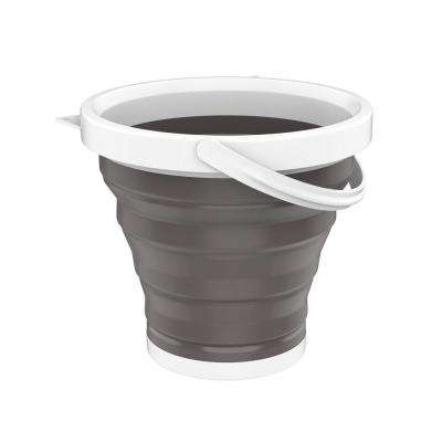 Collapsible Multi-use Portable Camping Bucket in Gray