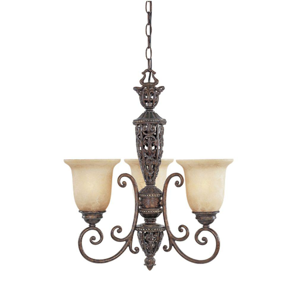 Somerset 3-Light Burnt Umber Hanging Chandelier