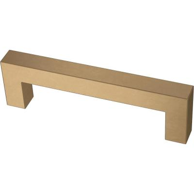 Modern Square Bar Pull 3-3/4 in. (96 mm) Champagne Bronze Drawer Pull