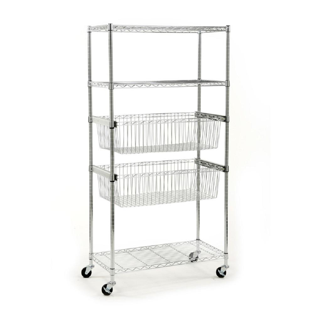 HDX 36 in. W x 71 in. H x 18 in. D 5-Tier Steel Shelving Unit With Basket in Chrome