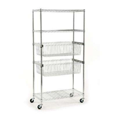 71 in. x 36 in. x18 in. 5-Tier Chrome Shelving Unit With Basket