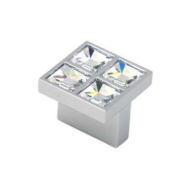 Swarovski Crystal Collection 0.62 in. Center to Center Square Chrome Cabinet Pull