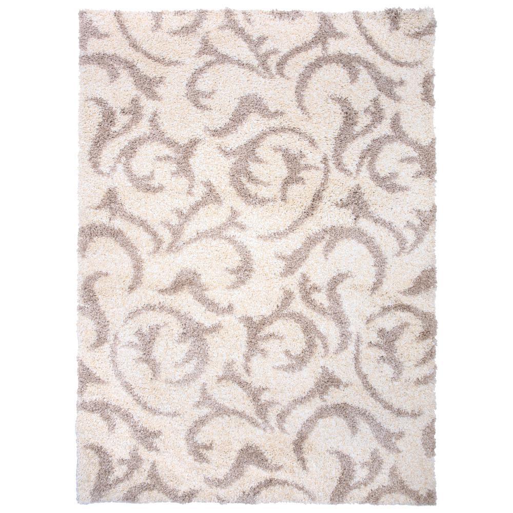 World rug gallery modern scroll soft plush shag 7 10 x 10 area rug cream 903cream8x10 the home depot