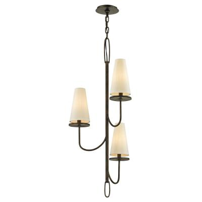 Marcel 3-Light Pompeii Bronze 18.25 in. D Chandelier with Off-White Hardback Cotton Shade