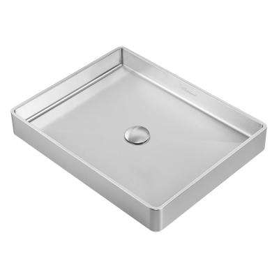 Noah Plus Rectangular Above Mount Vessel Sink in Brushed Stainless Steel with Matching Center Drain