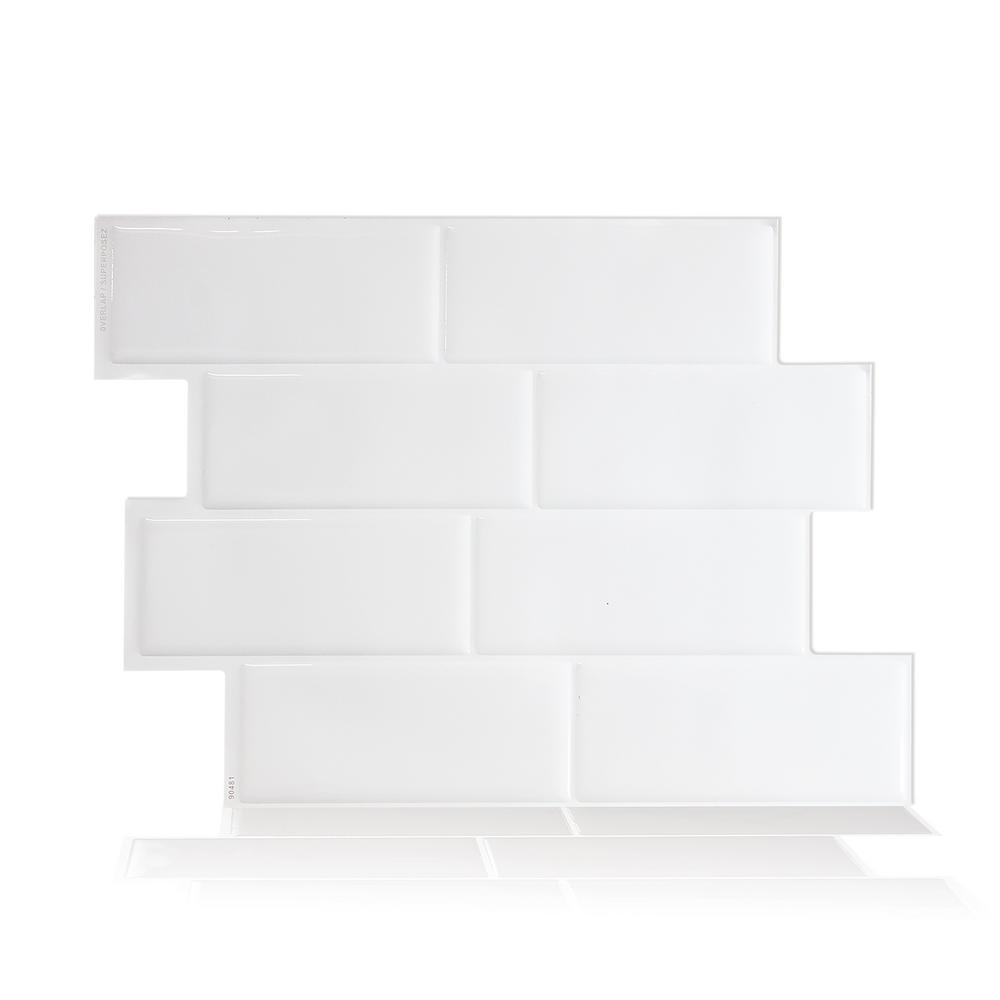 smart tiles metro blanco in w x in h white peel and stick self adhesive decorative. Black Bedroom Furniture Sets. Home Design Ideas