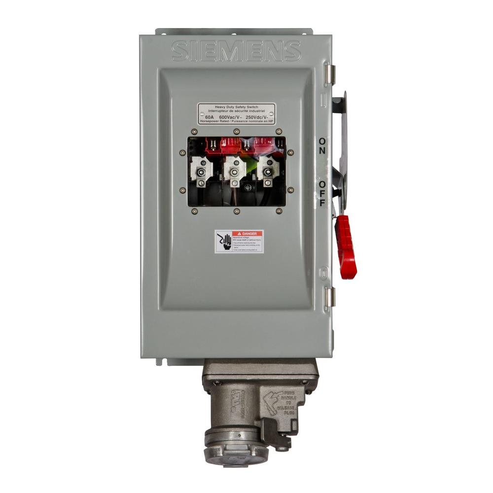 Siemens Heavy Duty 60 Amp 600-Volt 3-Pole Type 12 Non-Fusible Safety Switch with Receptacle and Window